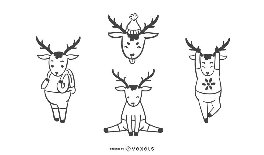 Simple Deer collection illustration