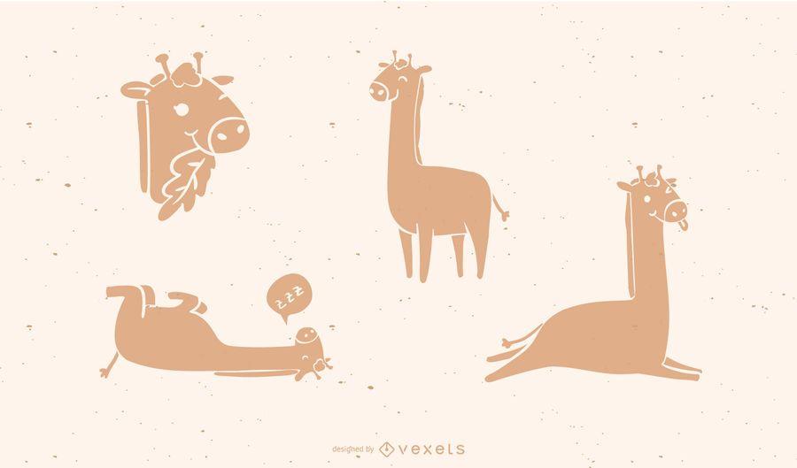 Conjunto de silueta de jirafa linda