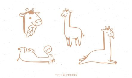 Coleção simples de Doodle de girafa