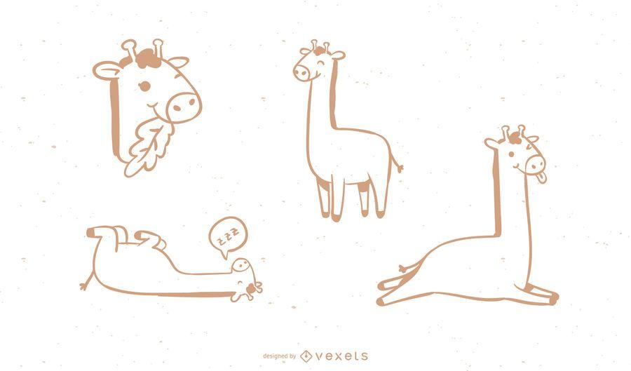 Colección de garabatos de jirafa simple