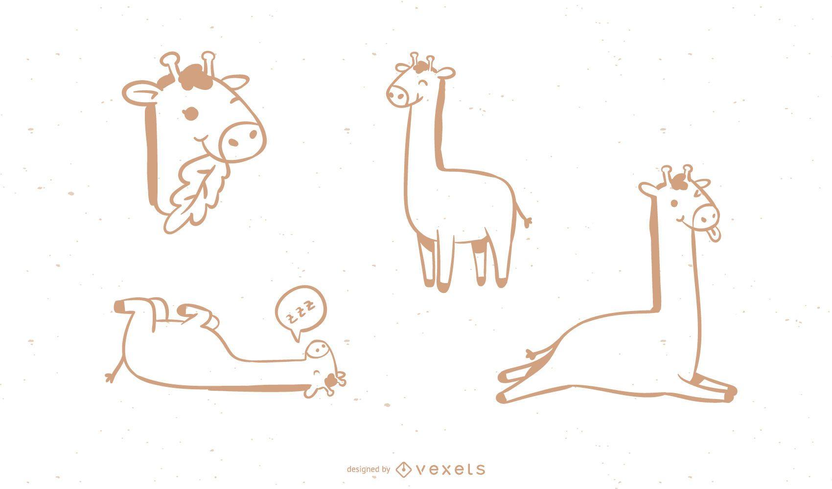 Coleção simples de girafa Doodle