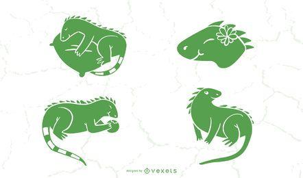 Colección linda de la silueta de la iguana