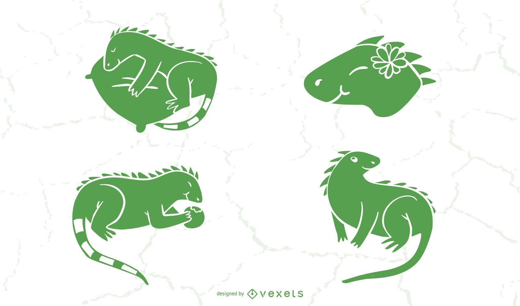 Linda colección de silueta de iguana
