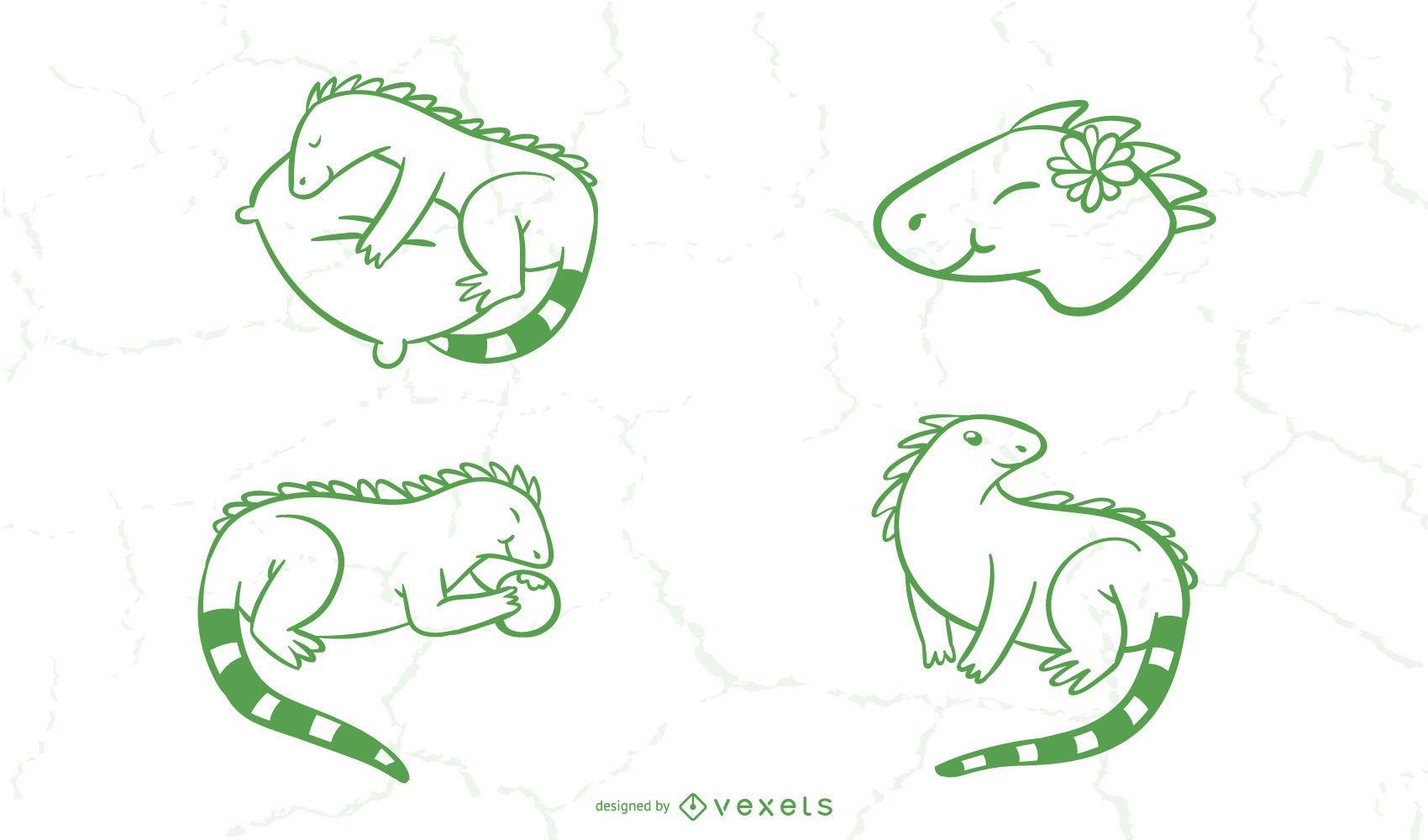 Simple Iguana Doodle Collection