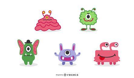 Conjunto de ilustración de monstruos lindos