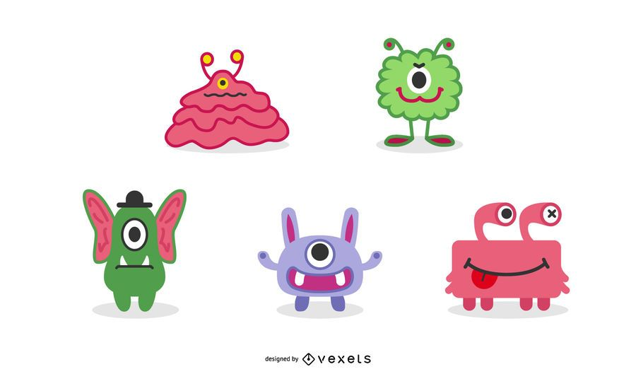 Cute Monsters Illustration Set