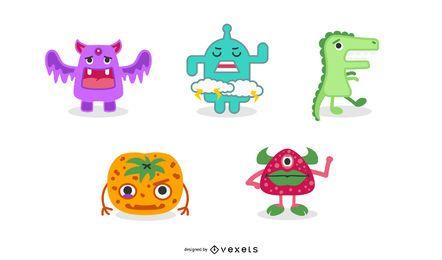 Conjunto de vectores de monstruos lindos