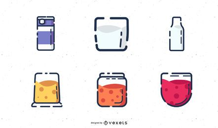 Conjunto de ícones de produtos lácteos