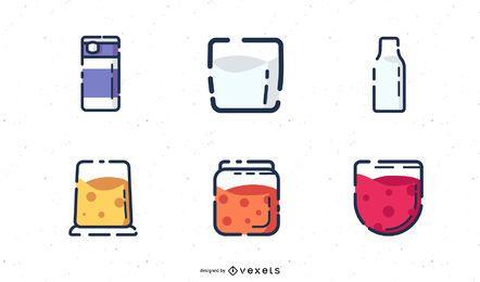 Conjunto de iconos de productos lácteos