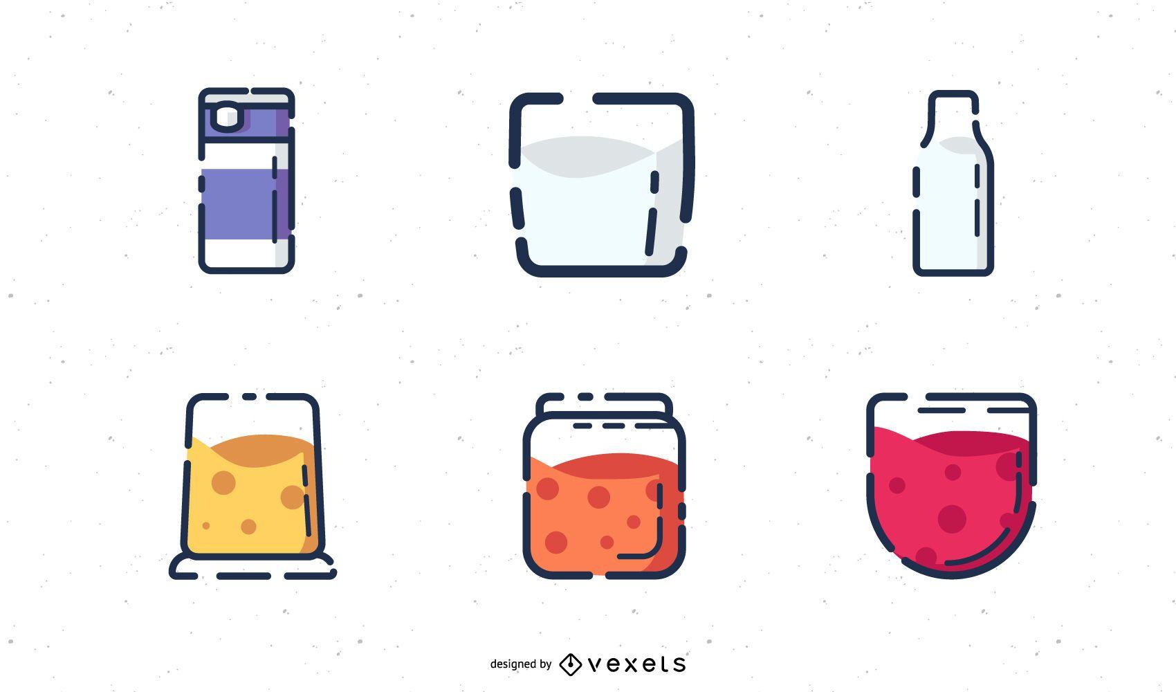 Drinking icons set