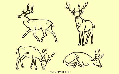Conjunto de doodle de ciervo