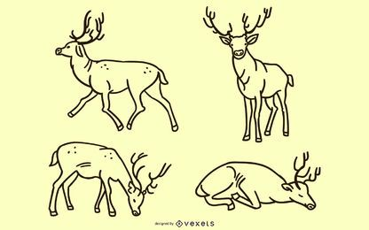 Doodle de ciervos conjunto