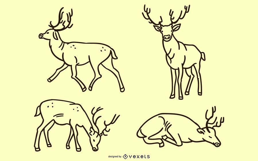Deer doodle set
