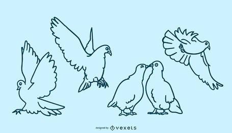 Conjunto de doodle de pomba