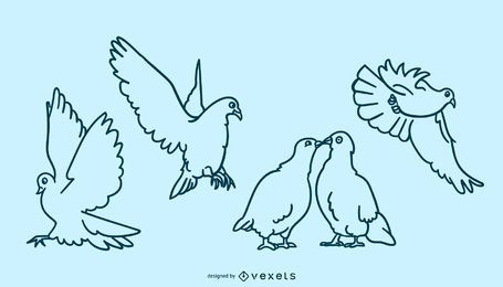 Doodle conjunto de paloma