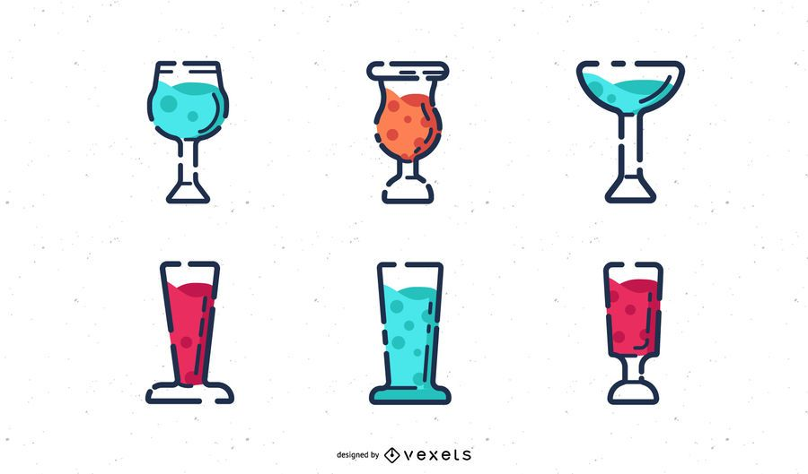 Colorful drinks stoke icon set