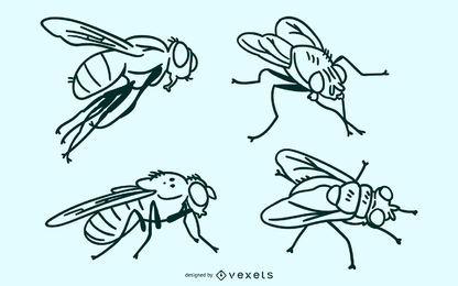 Fliege Schlaganfall Vektor festgelegt