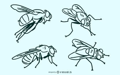 Fly stroke vector set