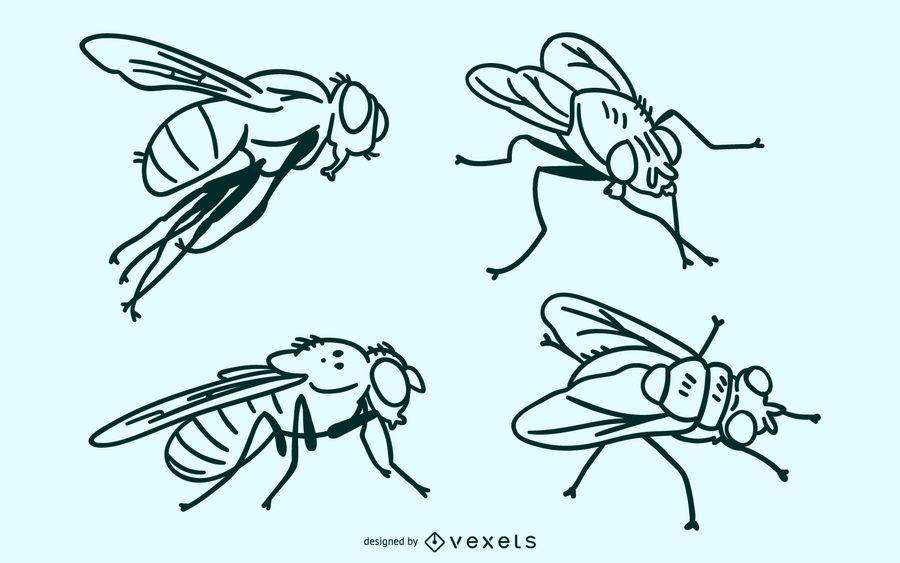 Fly stroke vector set