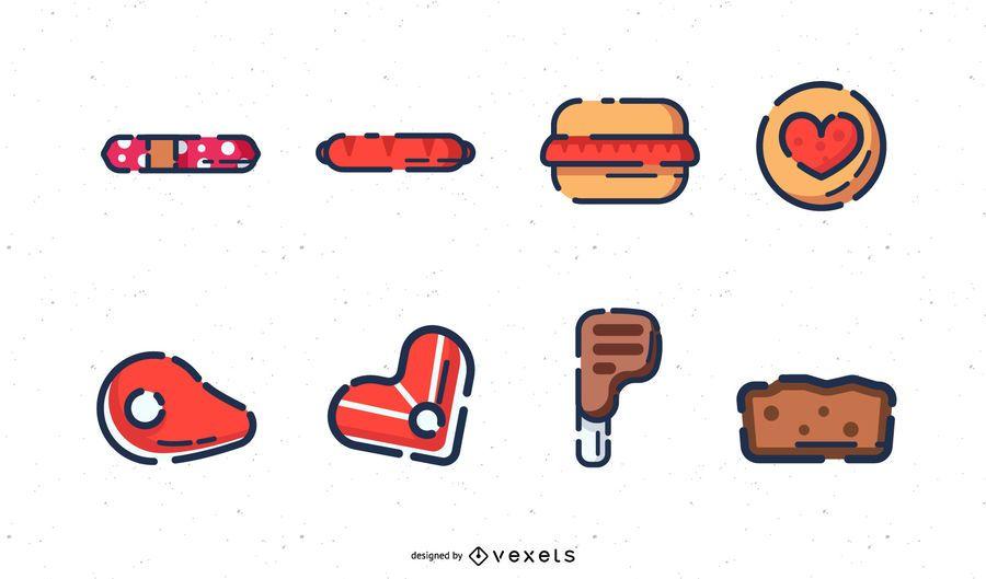 Conjunto de ícones de carne