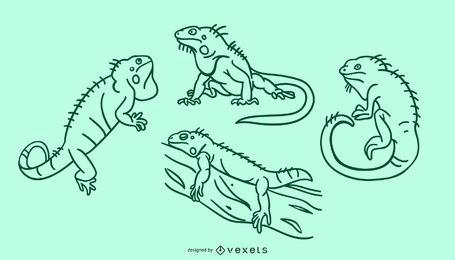 Conjunto de doodle de iguana