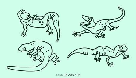 Conjunto de traços de lagarto fofo