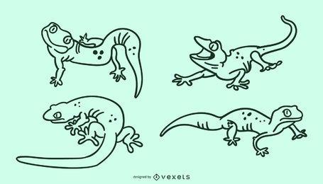 Lindo conjunto de trazos de lagarto