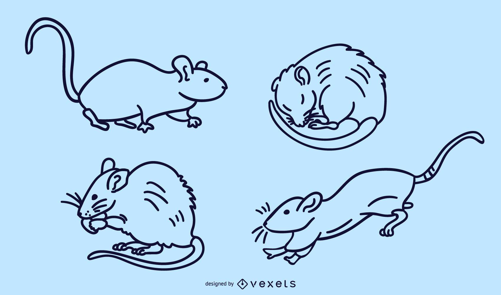Rat stroke vector set