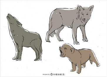 Conjunto de ilustração de família de lobo