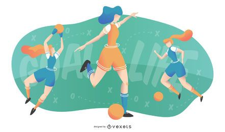 Women Playing Football Illustration