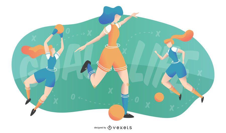 Women Playing Football Illustration