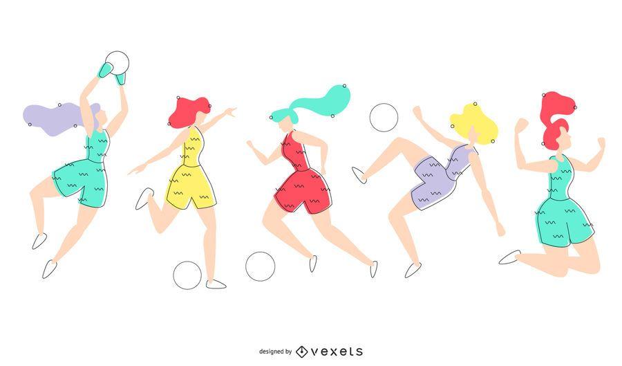 Ilustración de jugadores de fútbol femenino