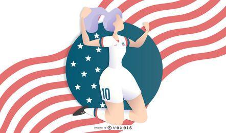Ilustración de fútbol de mujer