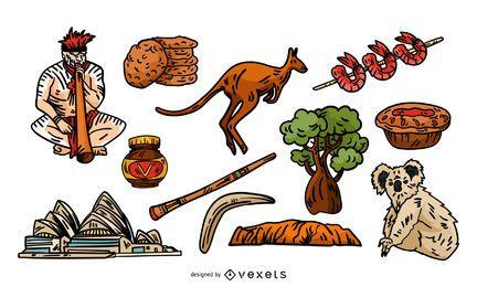 Conjunto de elementos tradicionais australianos