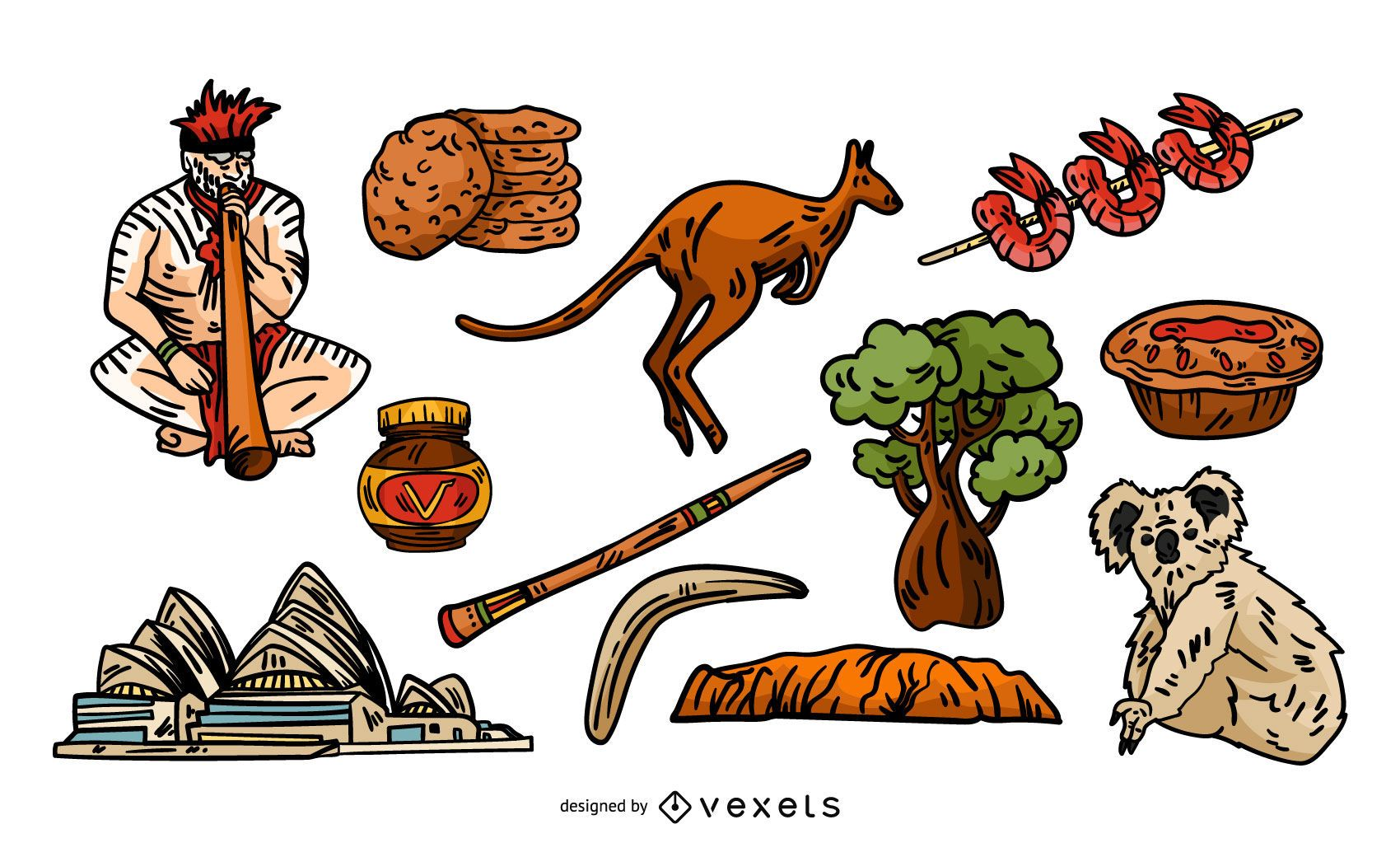 Australian traditional elements set