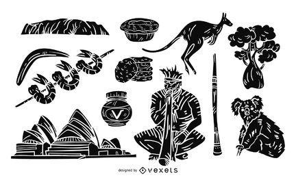 Ikonenhafte Australien-Illustration