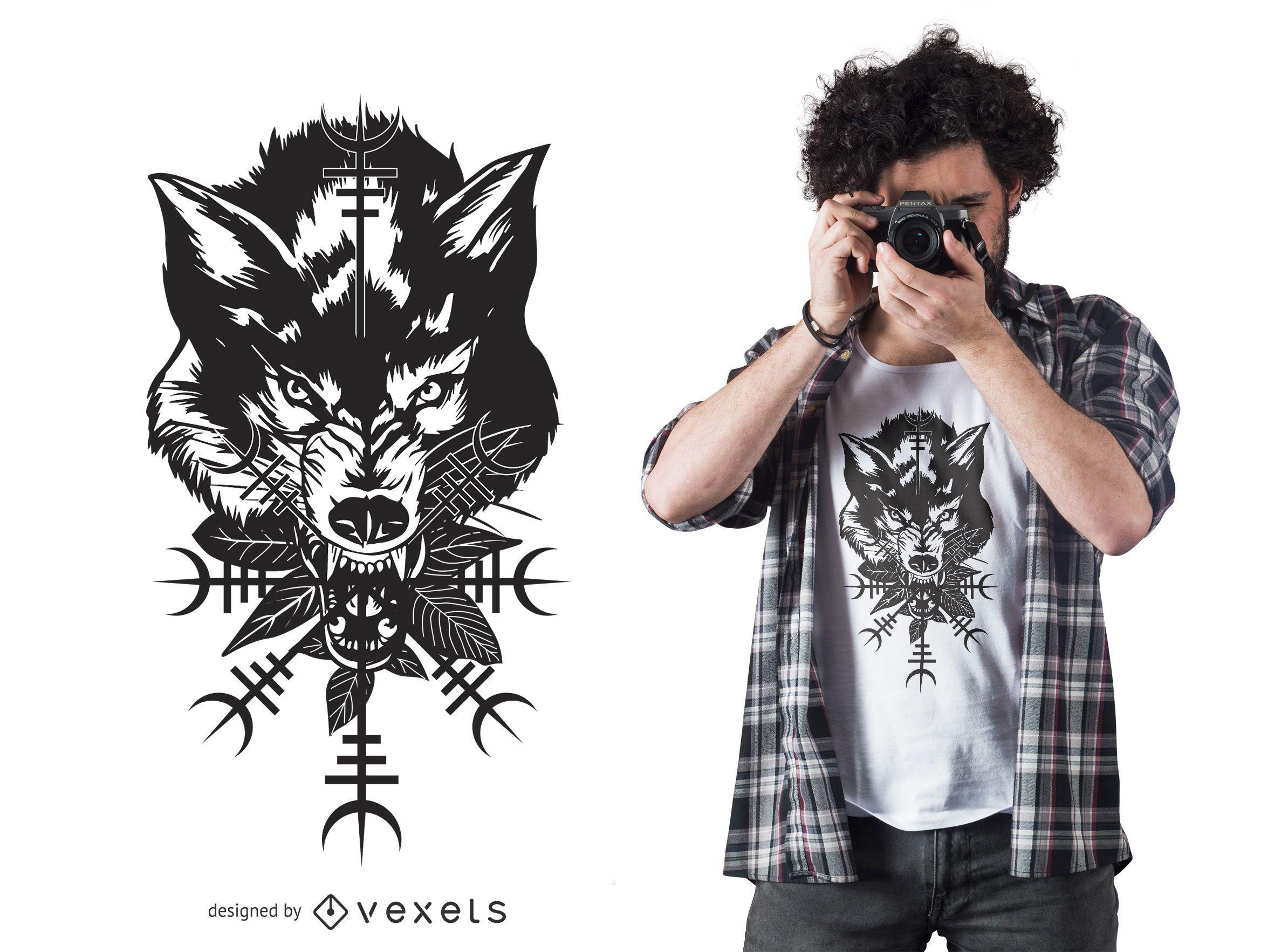 Diseño de camiseta gráfica de cabeza de lobo