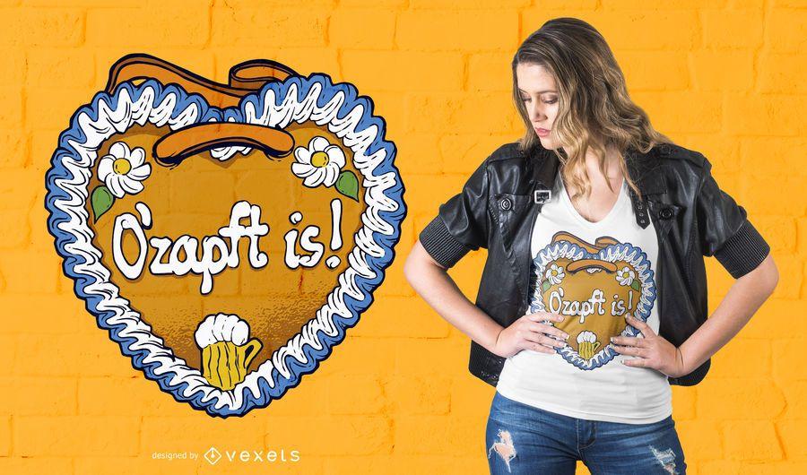 Projeto do t-shirt do coração do pão-de-espécie de Oktoberfest