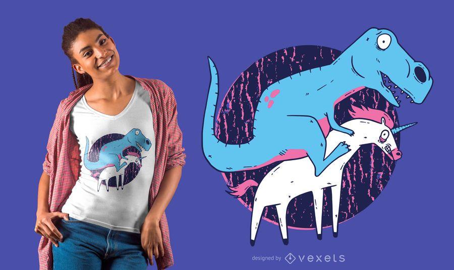 Projeto do t-shirt do unicórnio da equitação de T-Rex