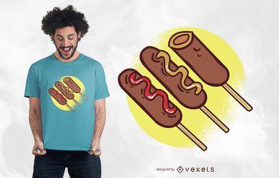 Diseño de camiseta de perros de maíz