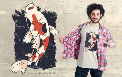 Projeto do t-shirt dos peixes de Koi