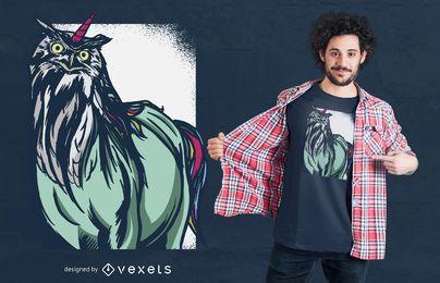 Diseño de camiseta búho unicornio