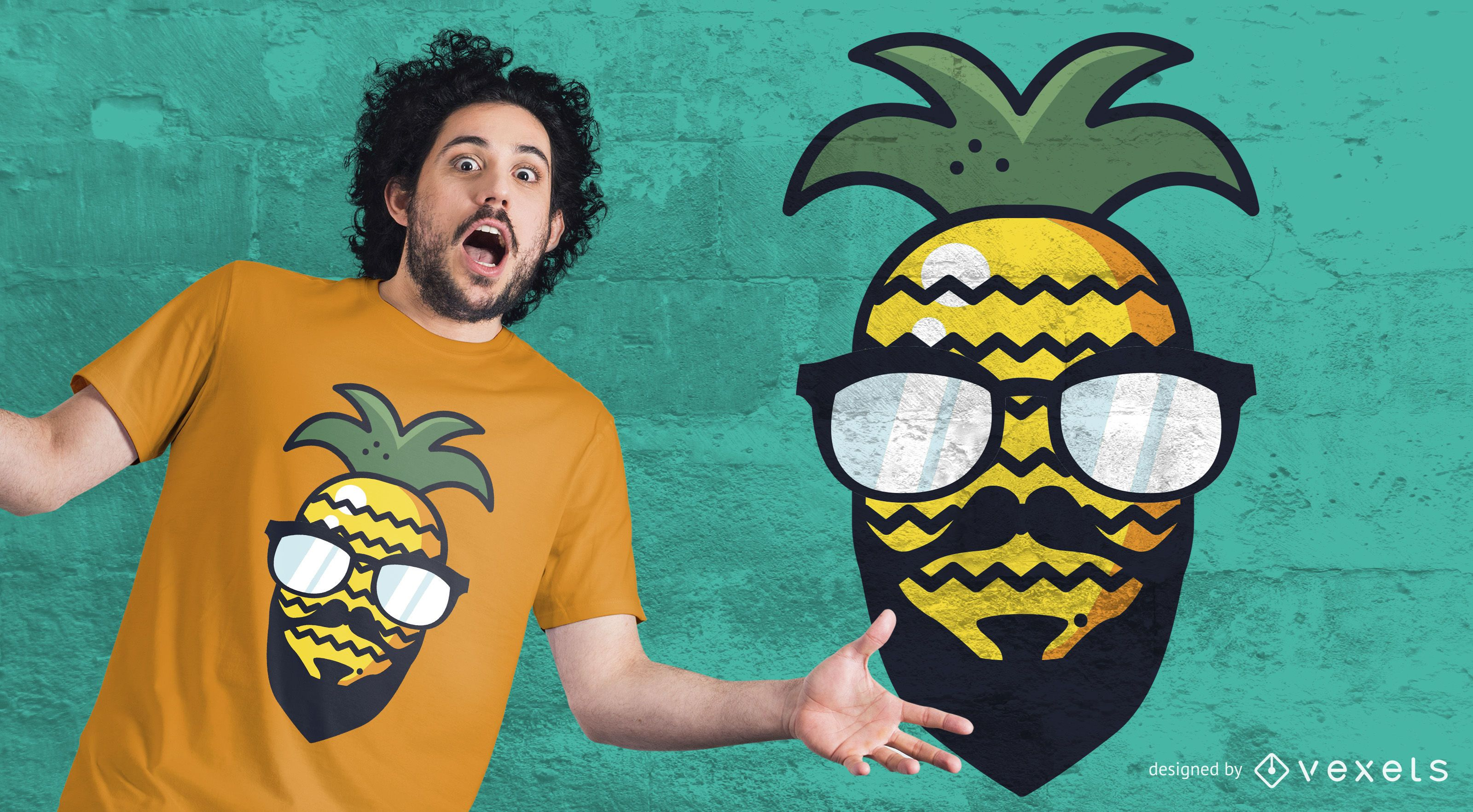 Dise?o de camiseta de pi?a hipster