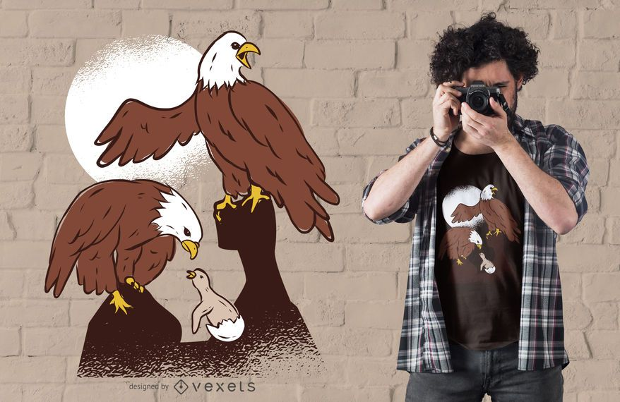 Diseño de camiseta Eagle Family Illustration