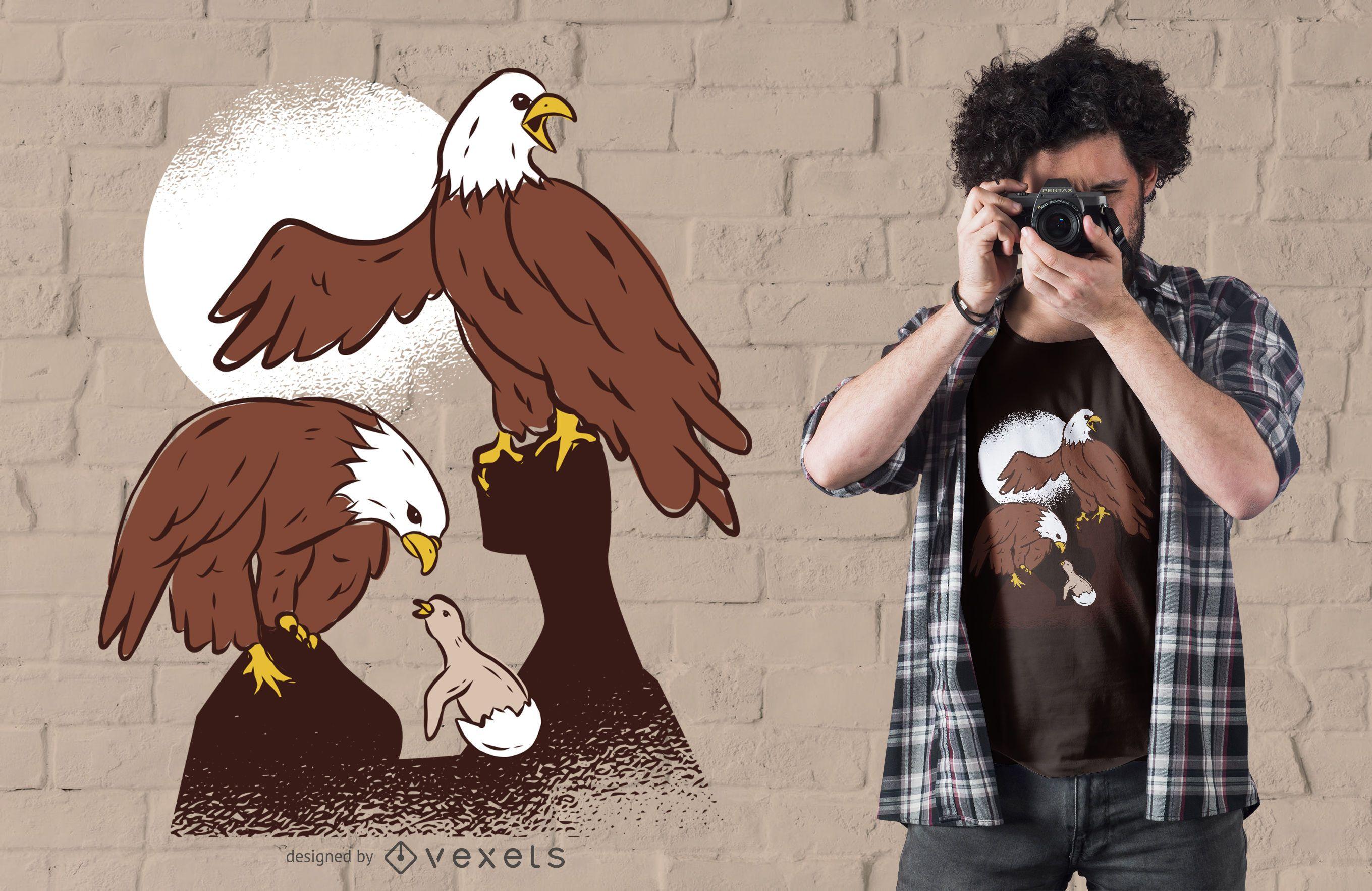 Eagle Family Illustration T-shirt Design