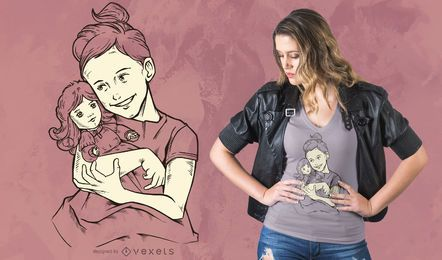 Girl with Doll T-shirt Design