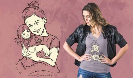 Mädchen mit Puppe T-Shirt Design