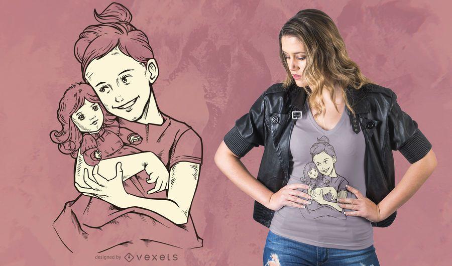 Menina, com, boneca, t-shirt, desenho