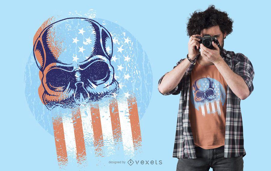 Skull Usa Flag T-shirt Design