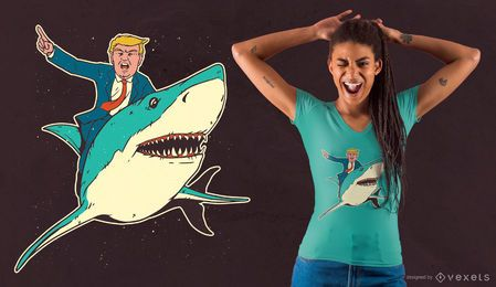 Diseño de camiseta Trump Shark